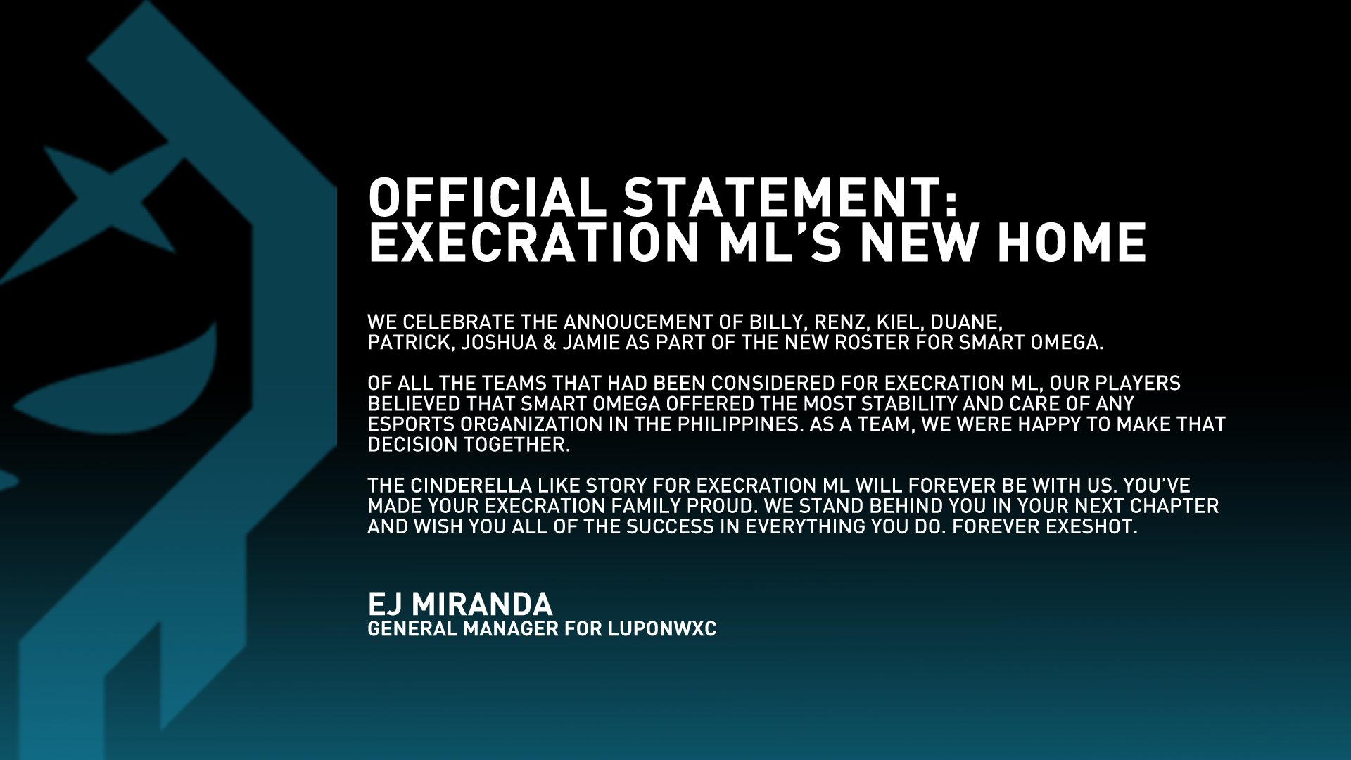 Official Statement: The New Home of Execration ML #ExeShot